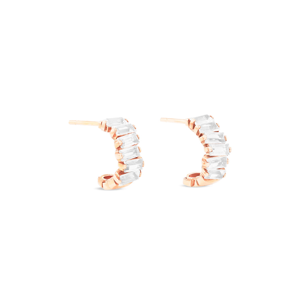 GIA WHITE TOPAZ MINI HOOPS