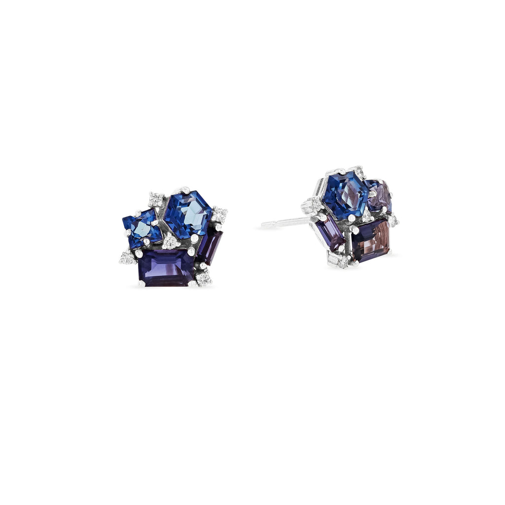 BLUE MIX BLOSSOM STUD EARRING
