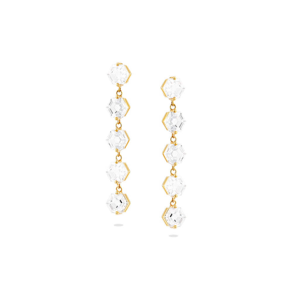 LILOU WHITE TOPAZ HEXAGON DROP EARRINGS