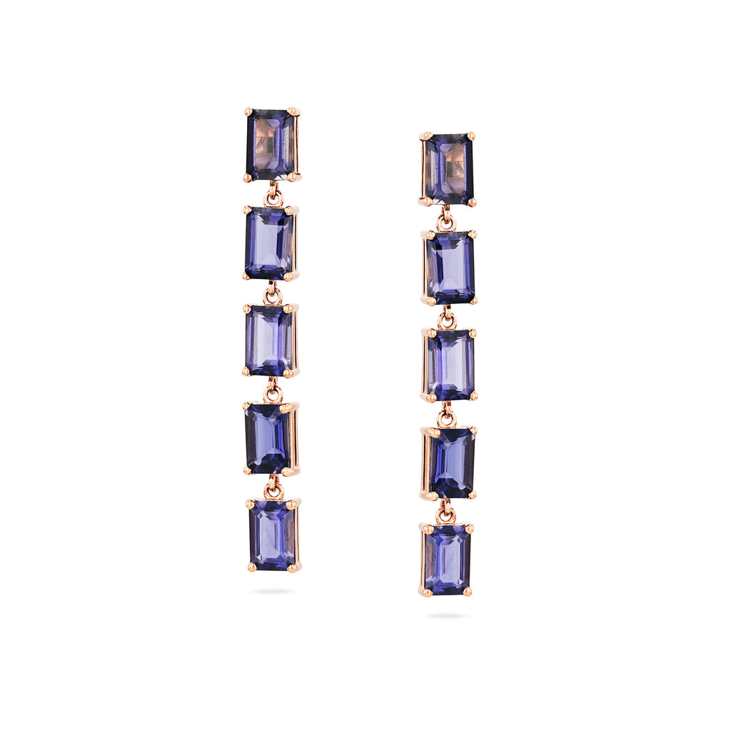 14K Rose Gold Jasmine Iolite Drop Earring