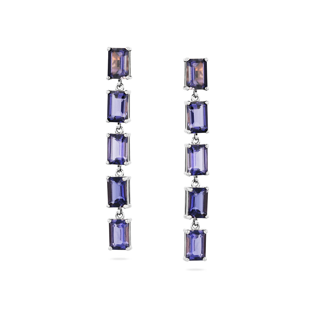 14K White Gold Jasmine Iolite Drop Earring