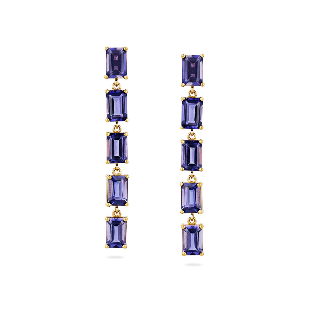 14K Yellow Gold Iolite Drop Earring