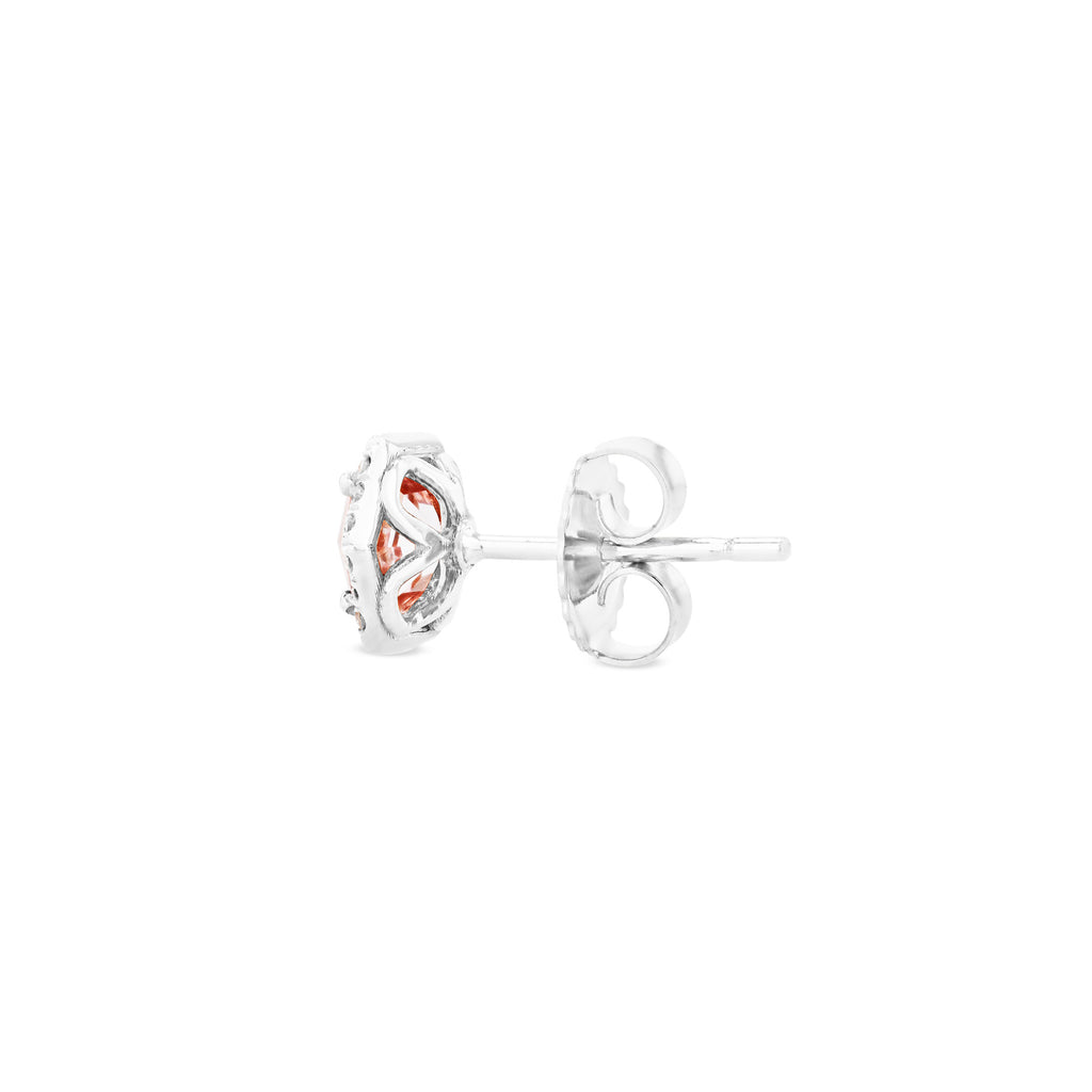 INES MORGANITE TOPAZ HEXAGON STUD EARRINGS