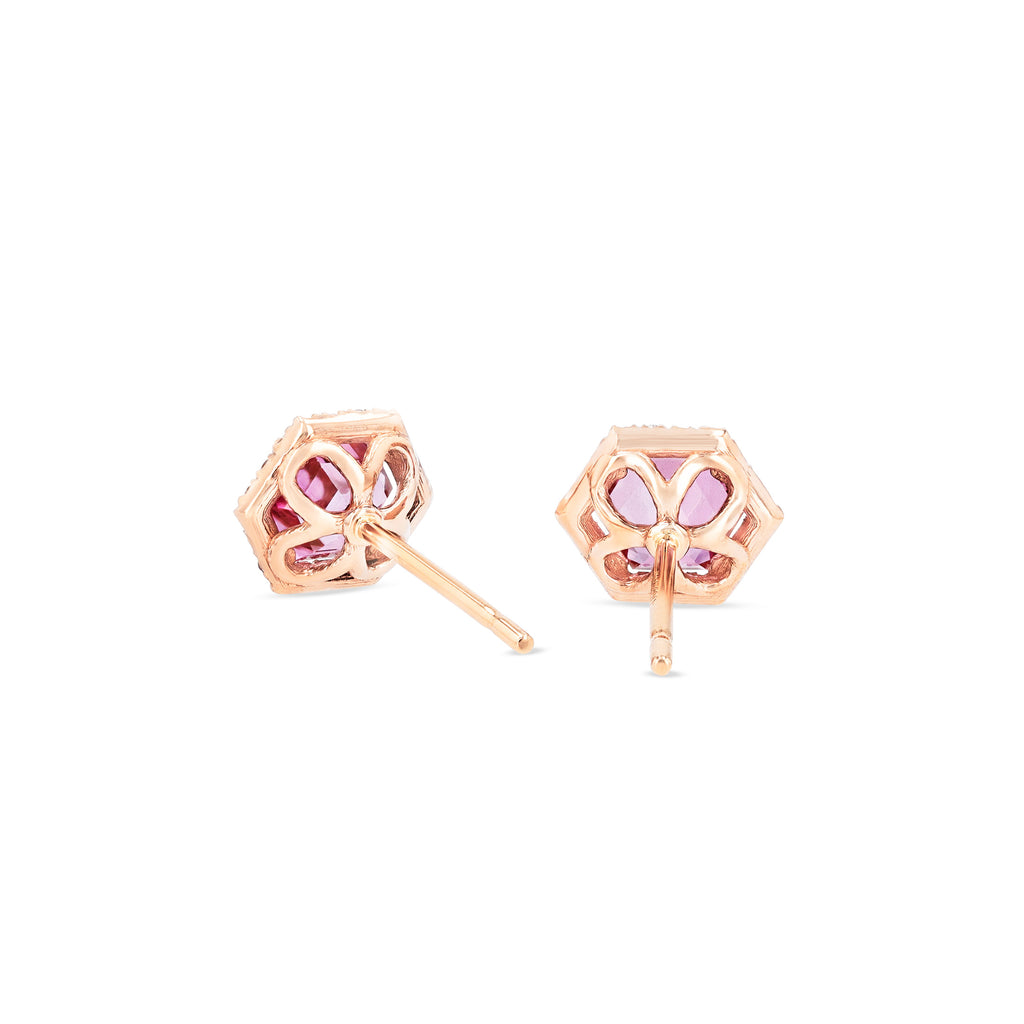 INES PINK TOPAZ HEXAGON STUD EARRINGS
