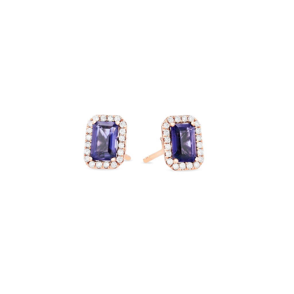 AYLA IOLITE EMERALD CUT STUD EARRINGS
