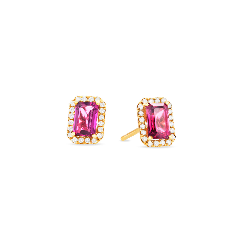 AYLA PINK TOPAZ EMERALD CUT STUD EARRINGS