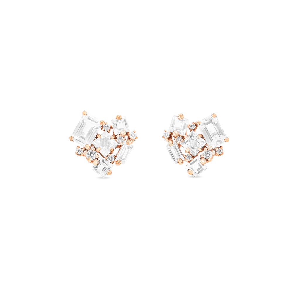 WHITE TOPAZ LOVE EARRINGS