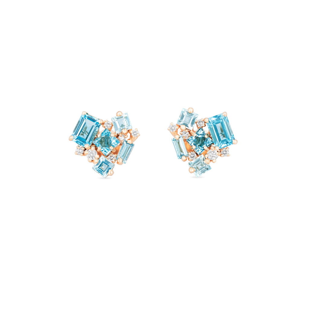 LIGHT BLUE MIX LOVE EARRING
