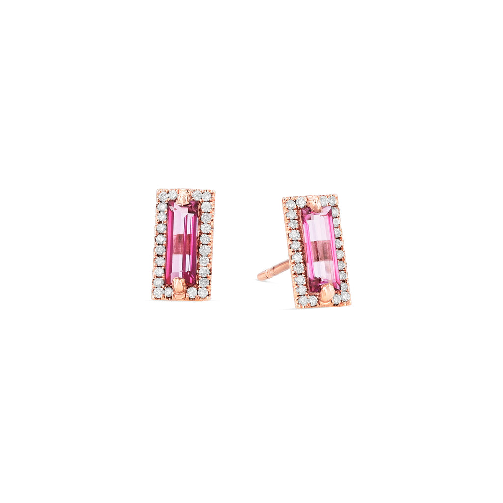 MILA PINK TOPAZ STUD EARRINGS