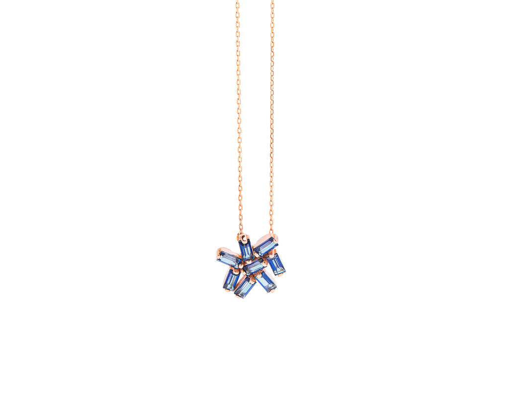 ENGLISH BLUE TOPAZ BURST NECKLACE
