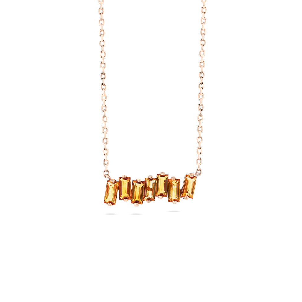 CITRINE BAGUETTE BAR NECKLACE