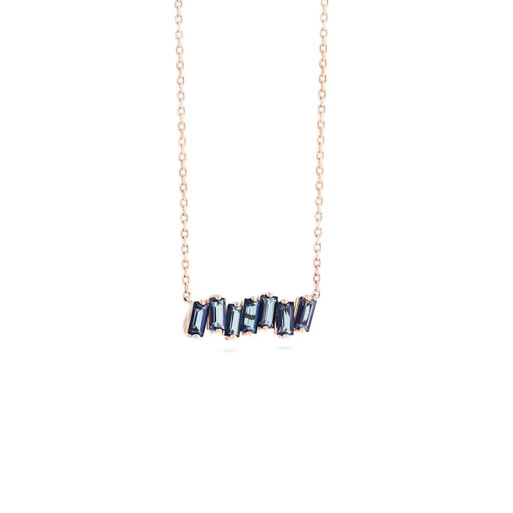 ENGLISH BLUE TOPAZ BAGUETTE BAR NECKLACE