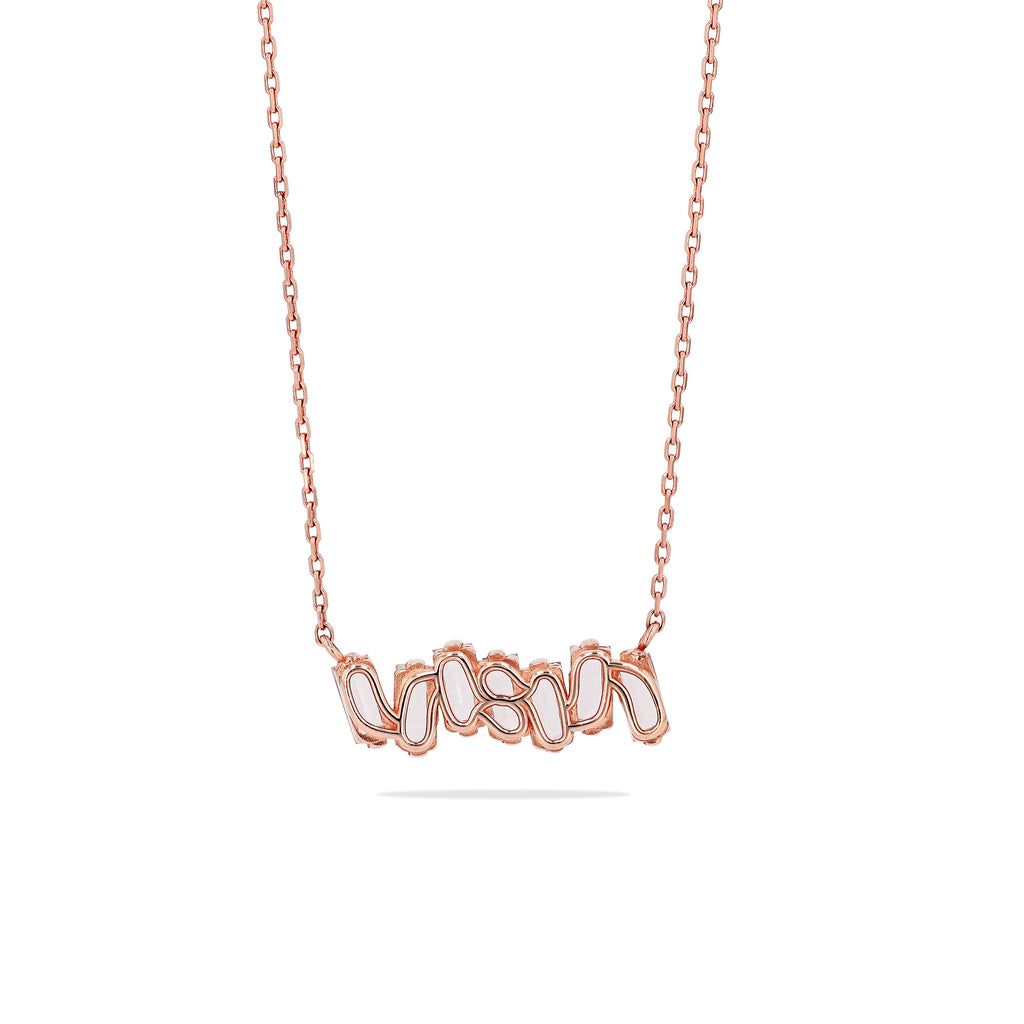 MORGANITE TOPAZ BAGUETTE BAR NECKLACE
