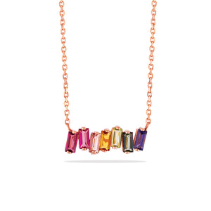 RAINBOW TOPAZ BAGUETTE BAR NECKLACE