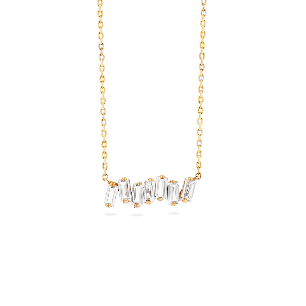 WHITE TOPAZ BAGUETTE BAR NECKLACE