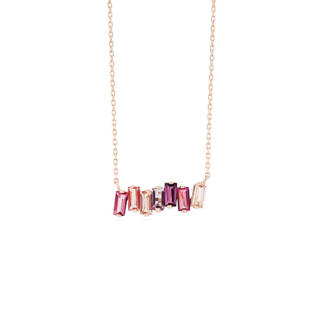 PINK MIX BAGUETTE BAR NECKLACE