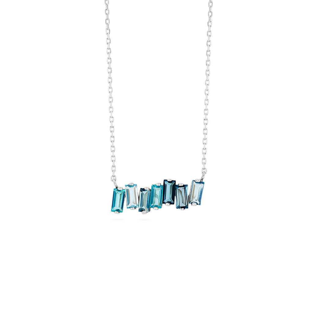 BLUE MIX BAGUETTE BAR NECKLACE