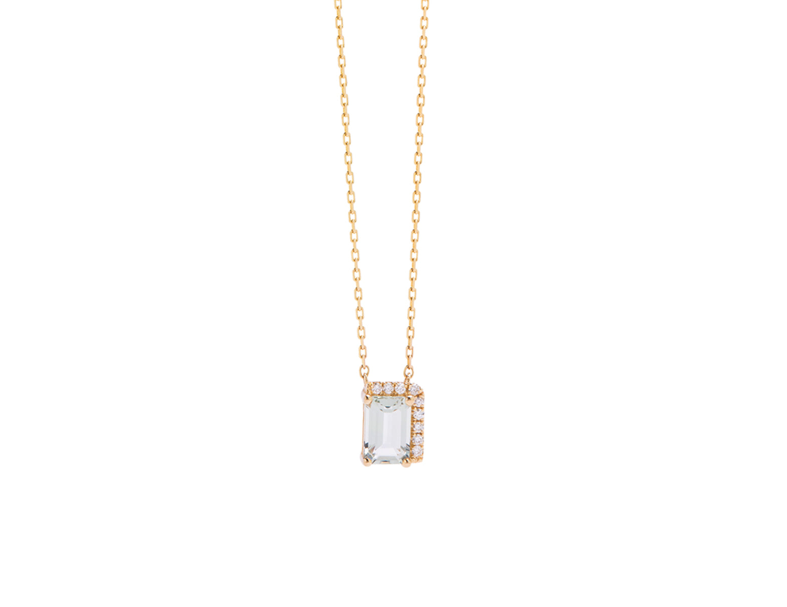 14K YELLOW GOLD AMALFI SINGLE BAGUETTE WITH DIAMONDS PENDANT