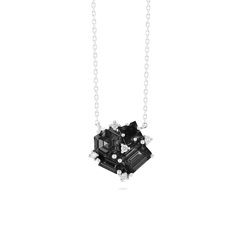 BLACK NIGHT QUARTZ BLOSSOM NECKLACE