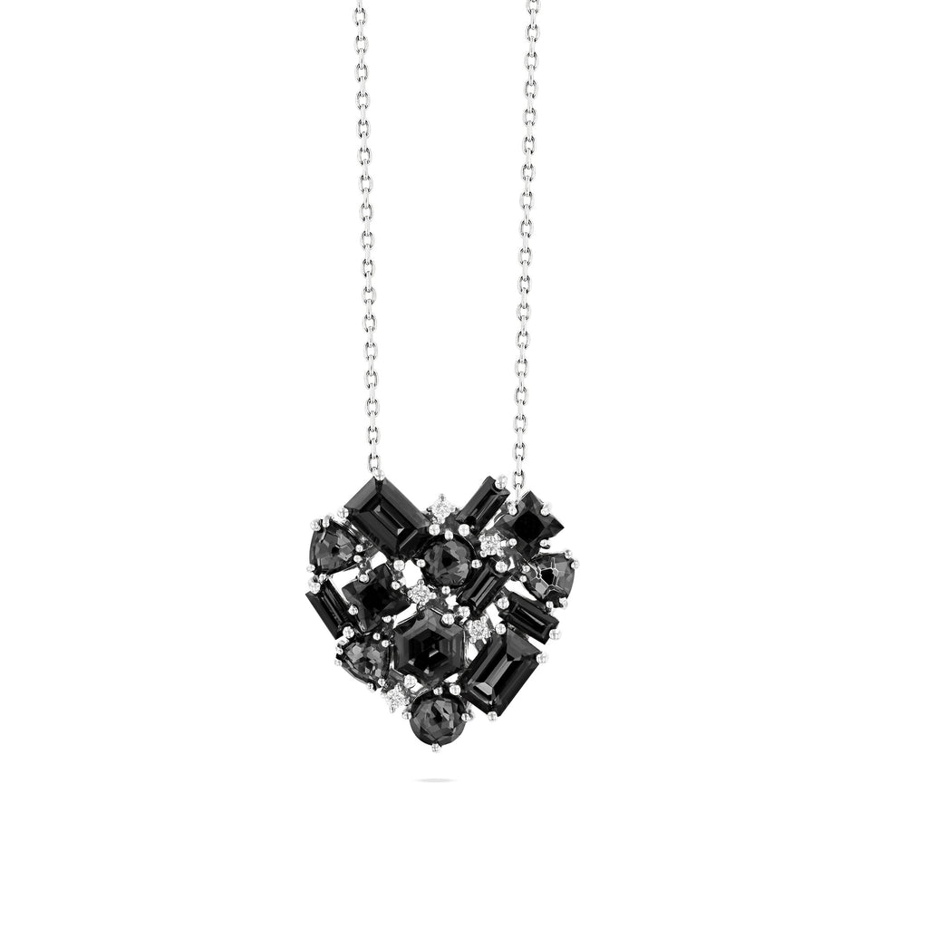 REBEL BLACK NIGHT QUARTZ HEART NECKLACE