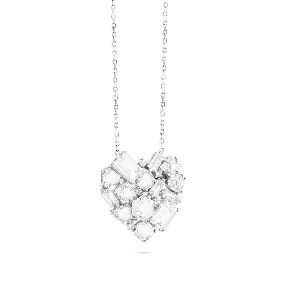 REBEL WHITE TOPAZ HEART NECKLACE
