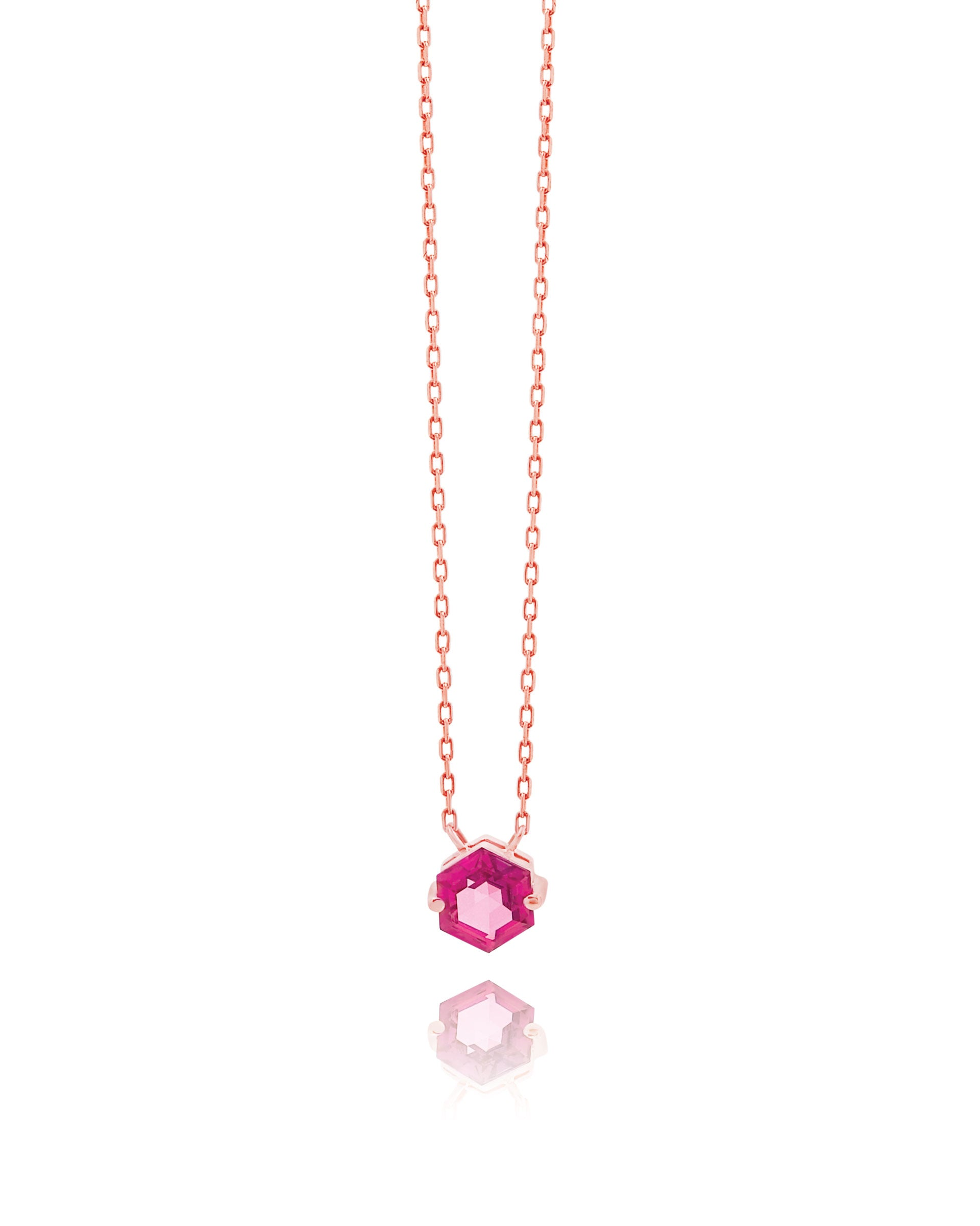 14K ROSE GOLD PETITE PINK TOPAZ HEXAGON NECKLACE