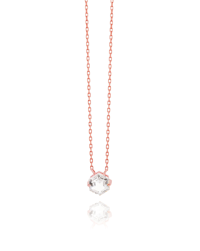 14K ROSE GOLD PETITE WHITE TOPAZ HEXAGON NECKLACE