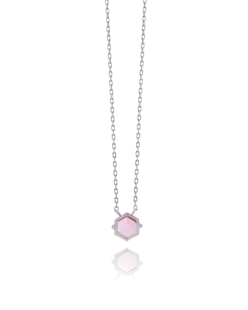 14K WHITE GOLD PETITE PINK TOPAZ HEXAGON NECKLACE