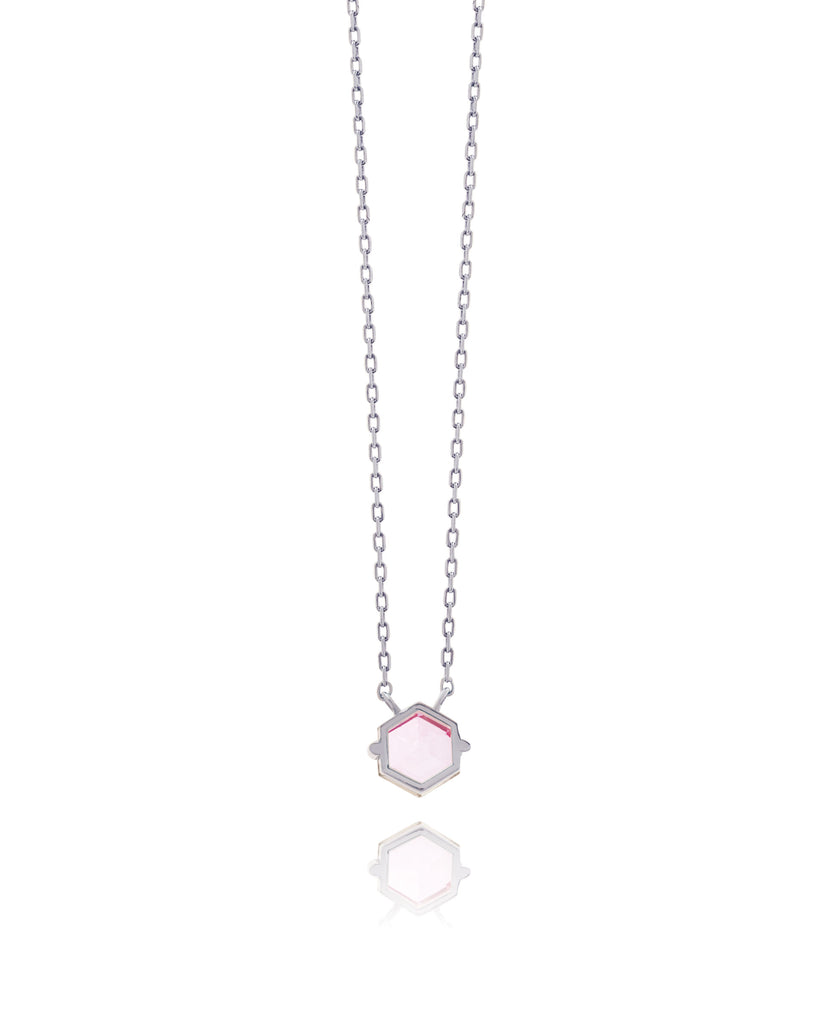 14K WHITE GOLD PETITE SALMON TOPAZ HEXAGON NECKLACE