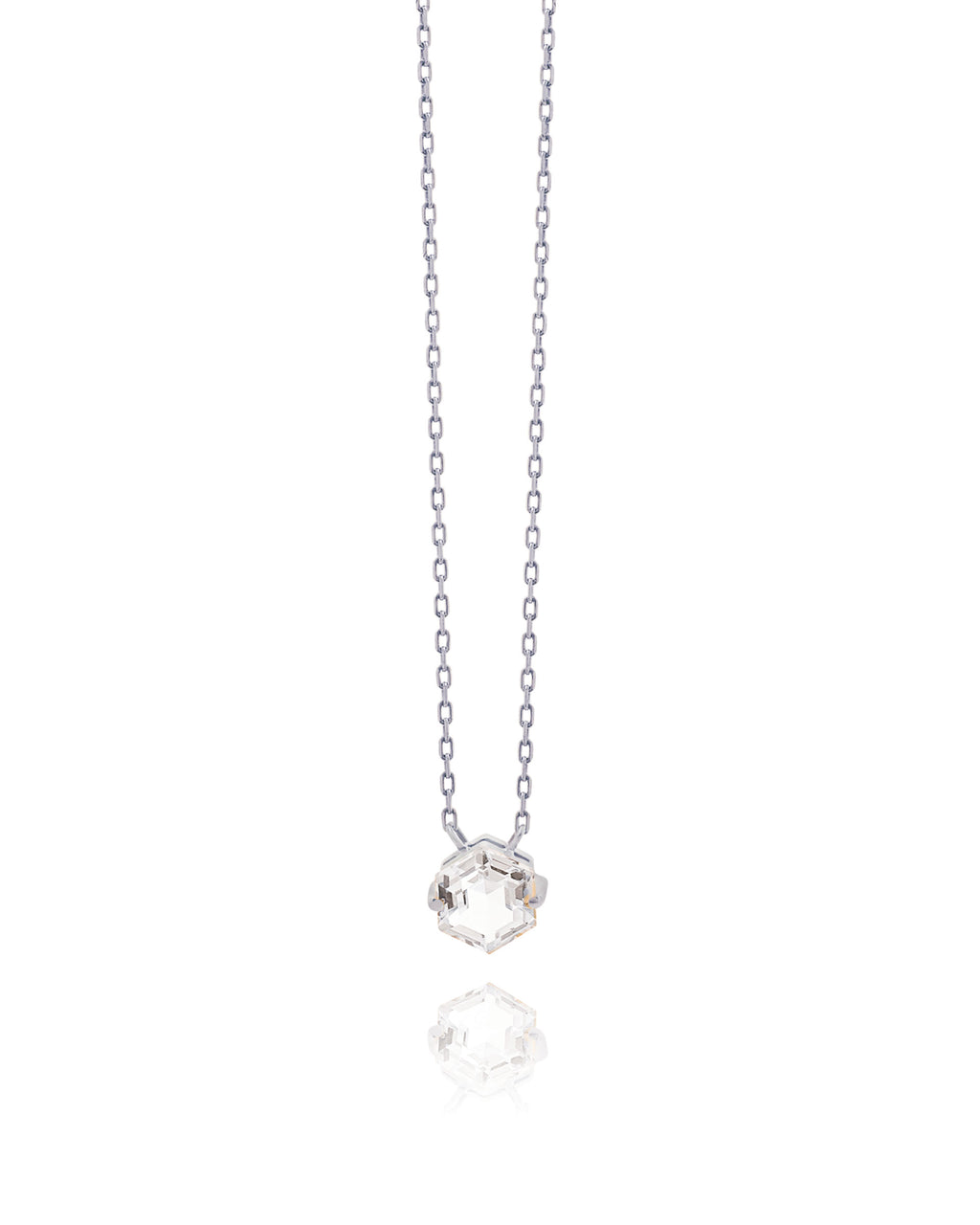 14K WHITE GOLD PETITE WHITE TOPAZ HEXAGON NECKLACE