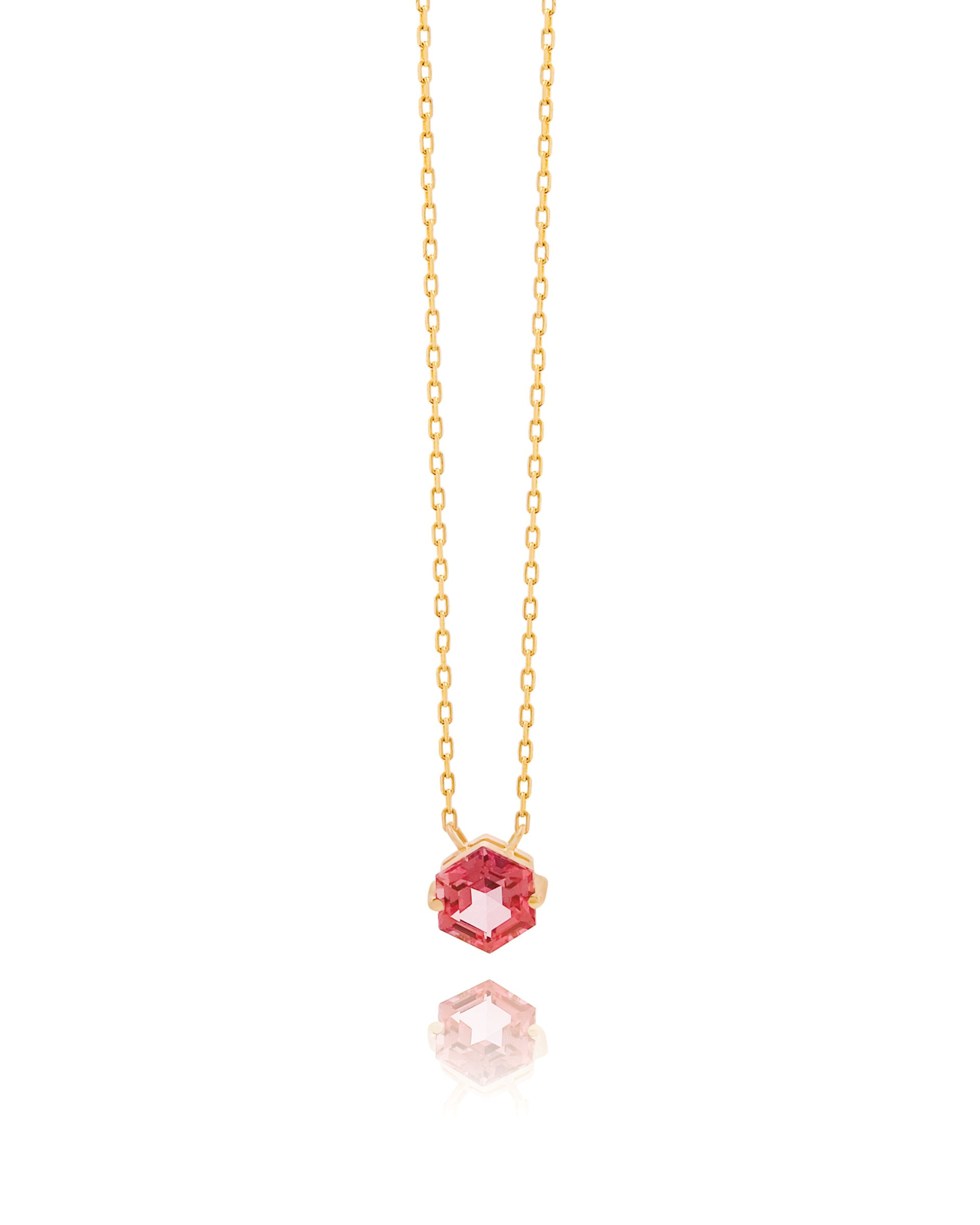 14K YELLOW GOLD PETITE SALMON TOPAZ HEXAGON NECKLACE