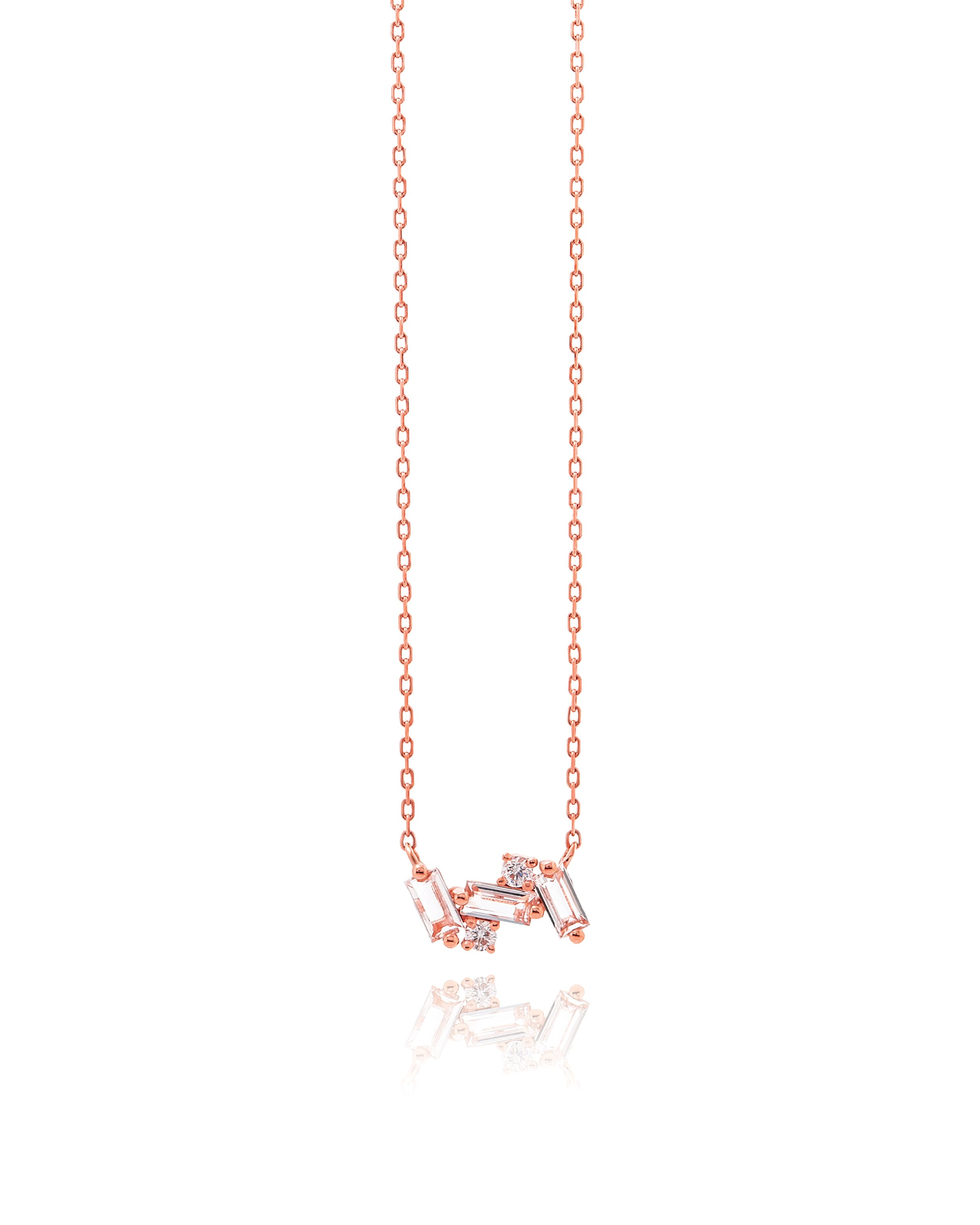 14K ROSE GOLD WHITE TOPAZ SMALL BAGUETTE BAR NECKLACE