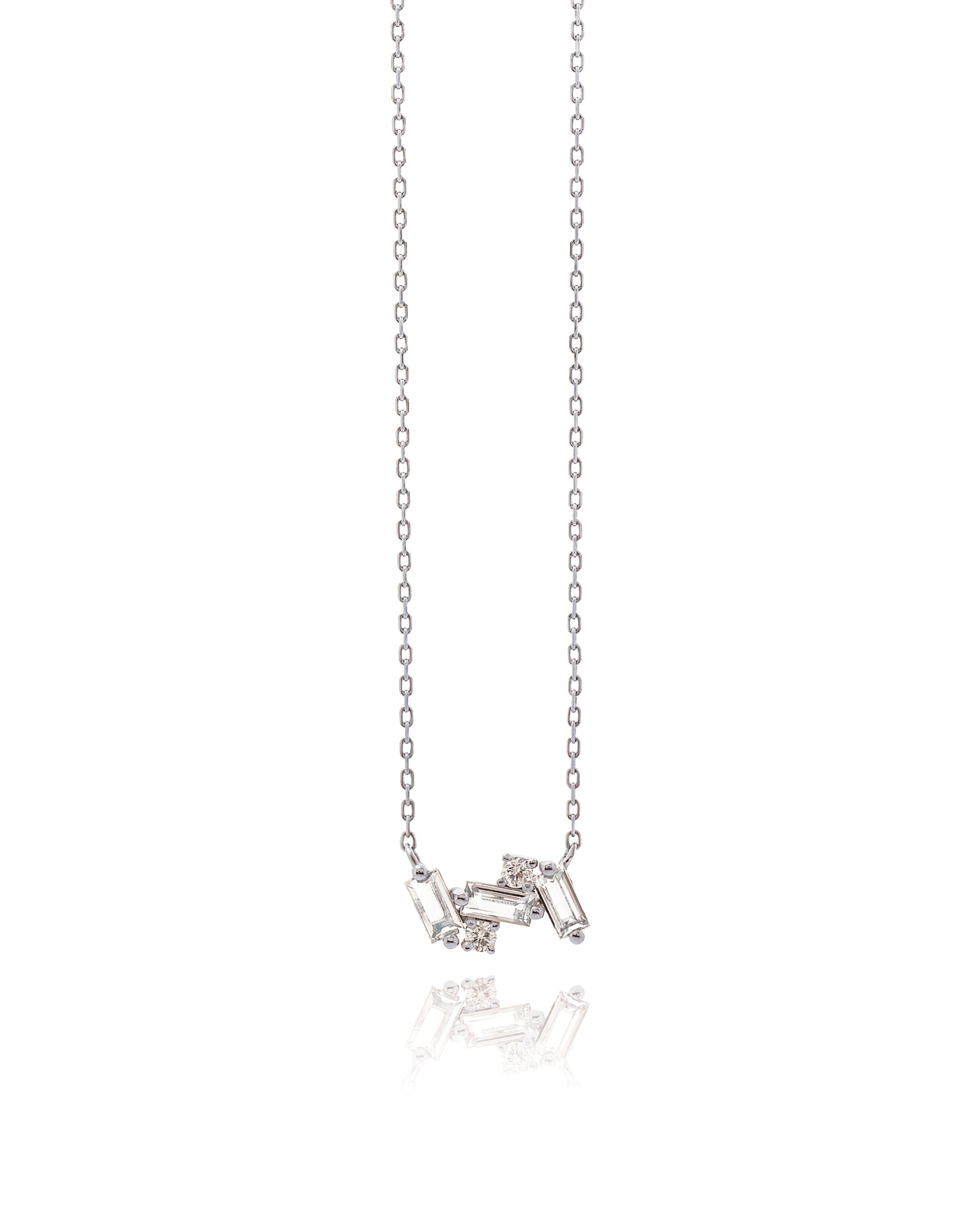 14K WHITE GOLD WHITE TOPAZ SMALL BAGUETTE BAR NECKLACE
