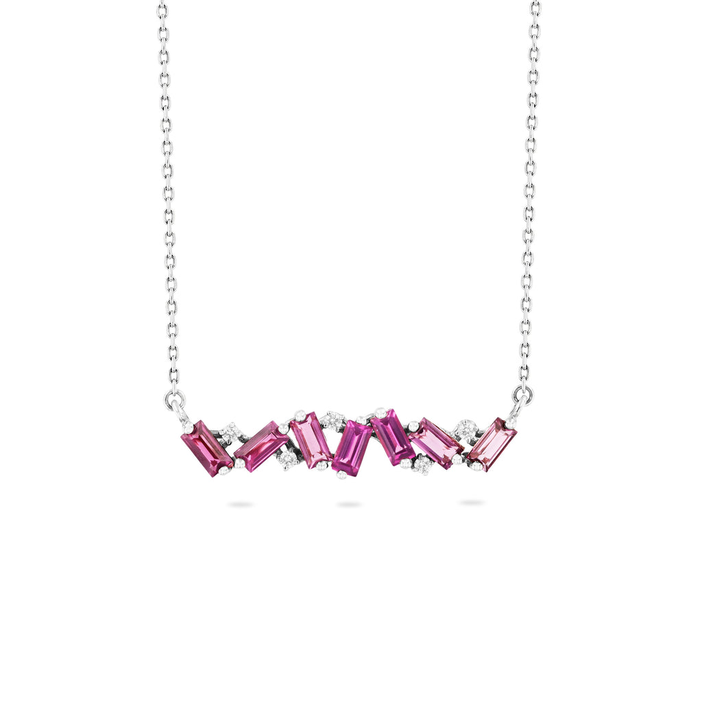 FRENESIA RHODOLITE BAR NECKLACE