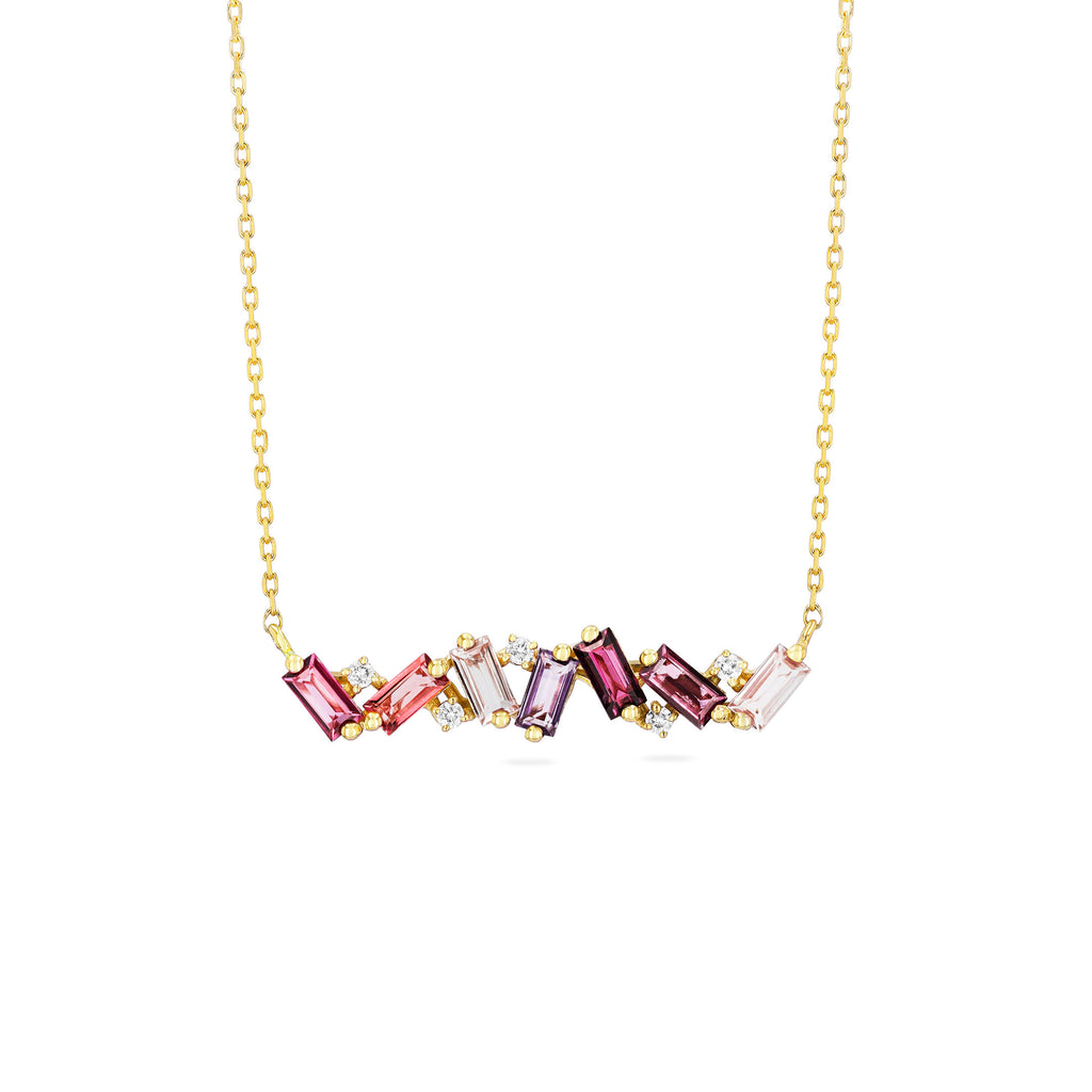 FRENESIA PINK MIX BAR NECKLACE