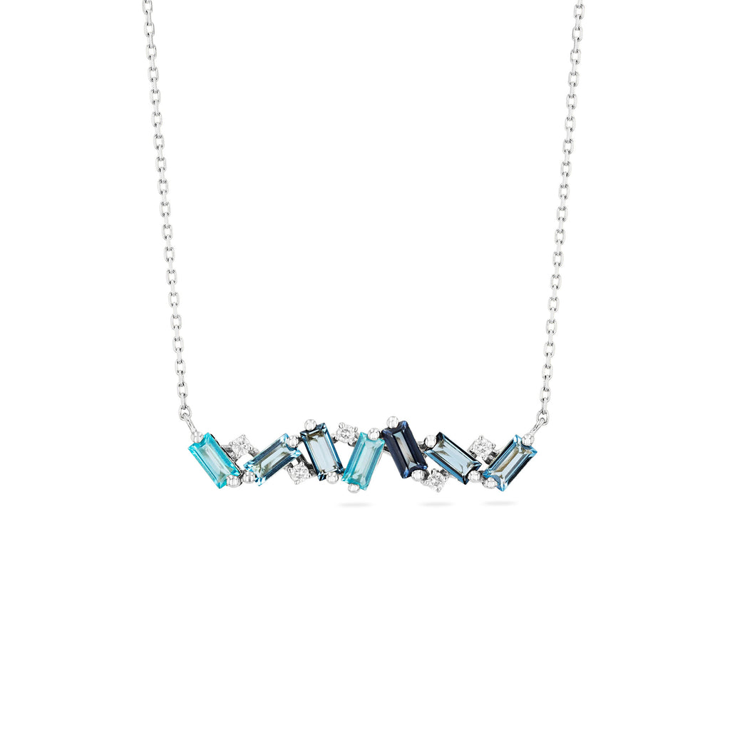FRENESIA BLUE MIX BAR NECKLACE