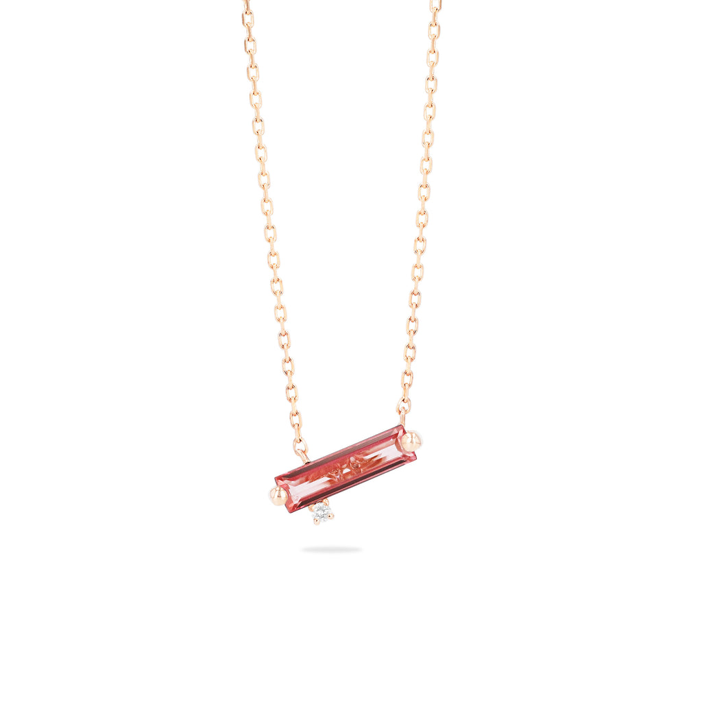 NAXOS SALMON TOPAZ BAGUETTE NECKLACE