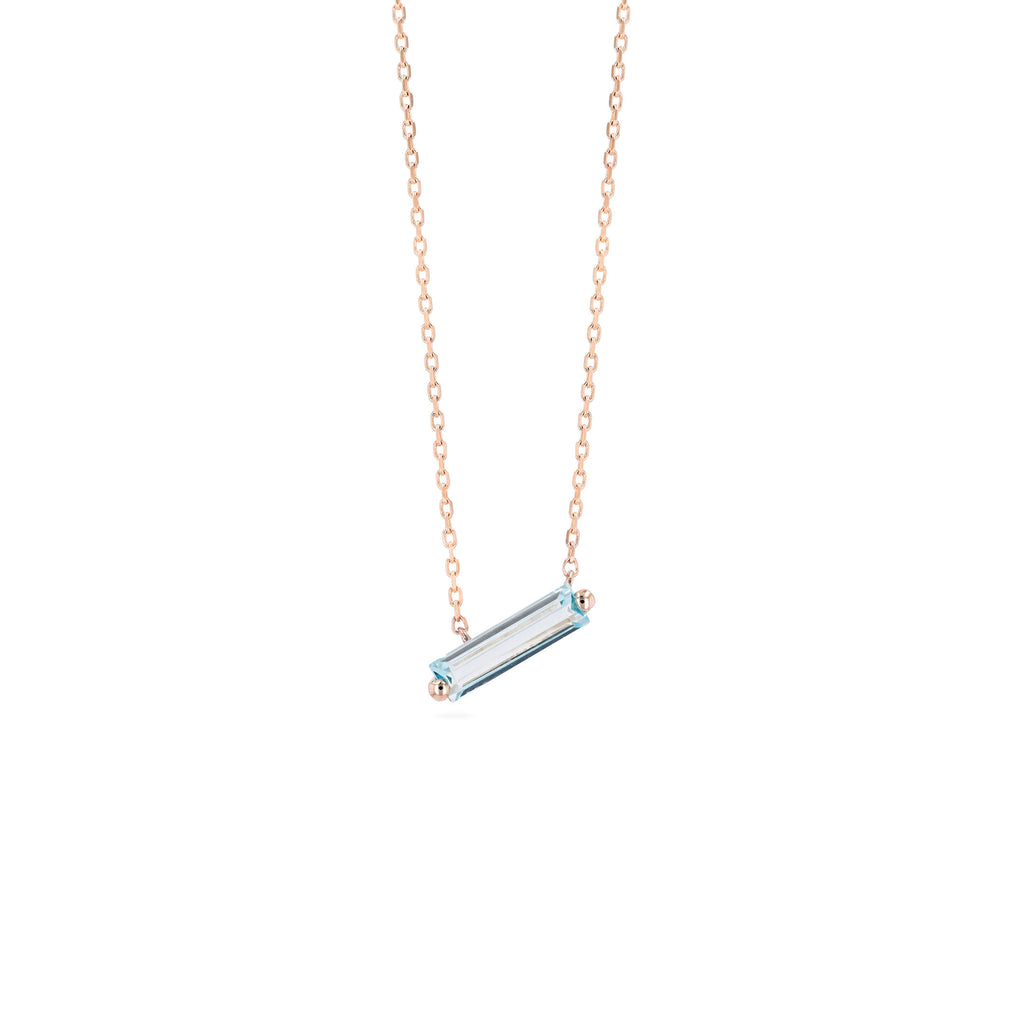 RHODES BLUE TOPAZ BAGUETTE NECKLACE