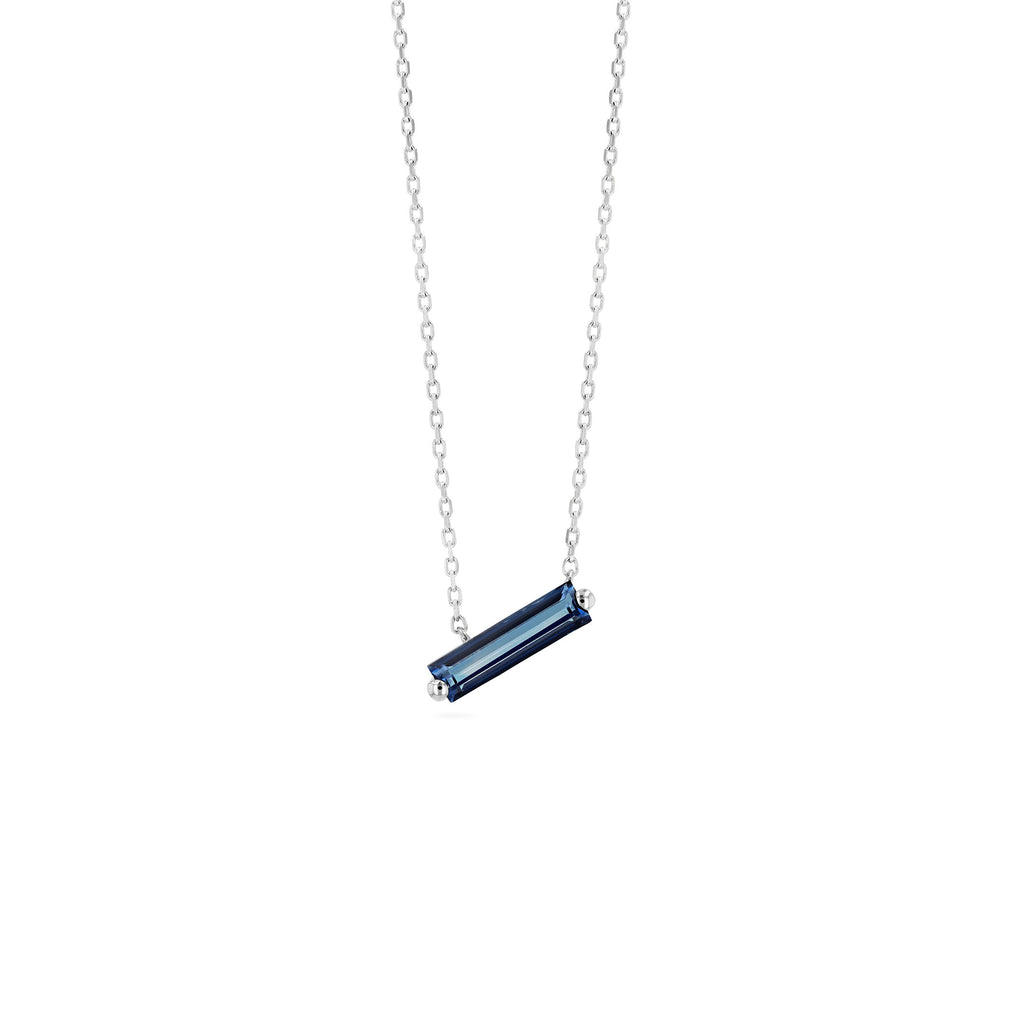 RHODES ENGLISH BLUE TOPAZ BAGUETTE NECKLACE