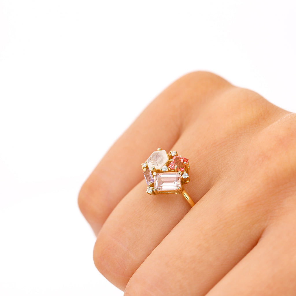 PINK PASTEL MIX BLOSSOM RING