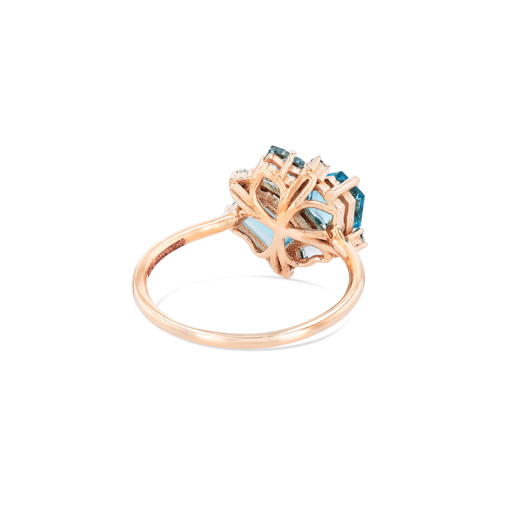 LIGHT BLUE MIX BLOSSOM RING