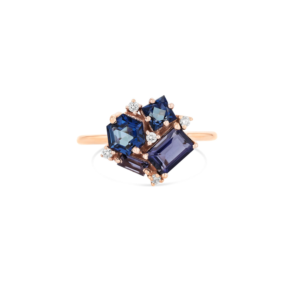 BLUE MIX BLOSSOM RING