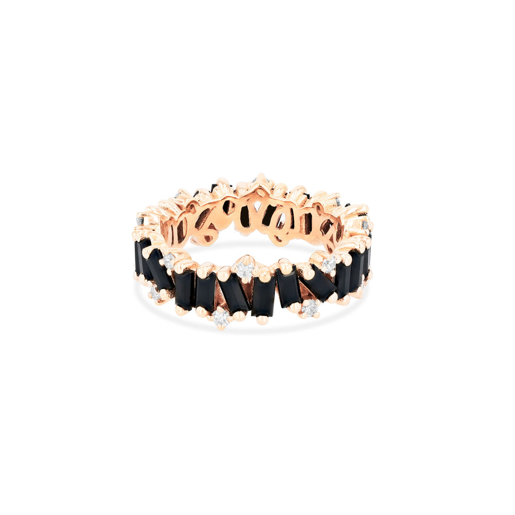 BLACK SPINEL AMALFI WAVE ETERNITY BAND WITH DIAMOND DETAIL
