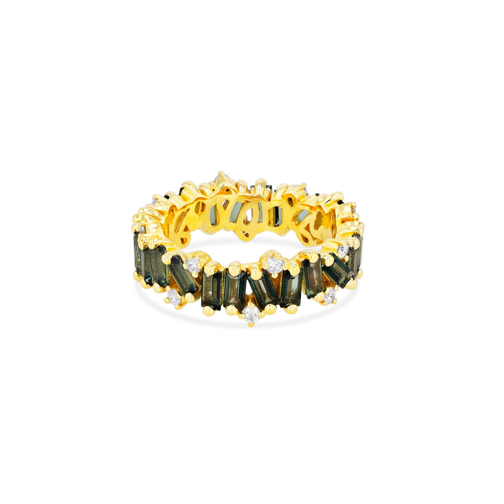 GREEN ENVY TOPAZ AMALFI WAVE ETERNITY BAND WITH DIAMOND DETAIL