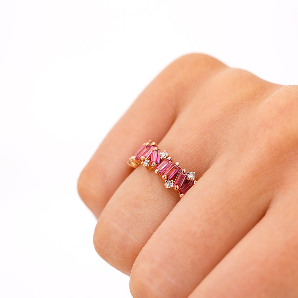 PINK TOPAZ AMALFI WAVE ETERNITY BAND