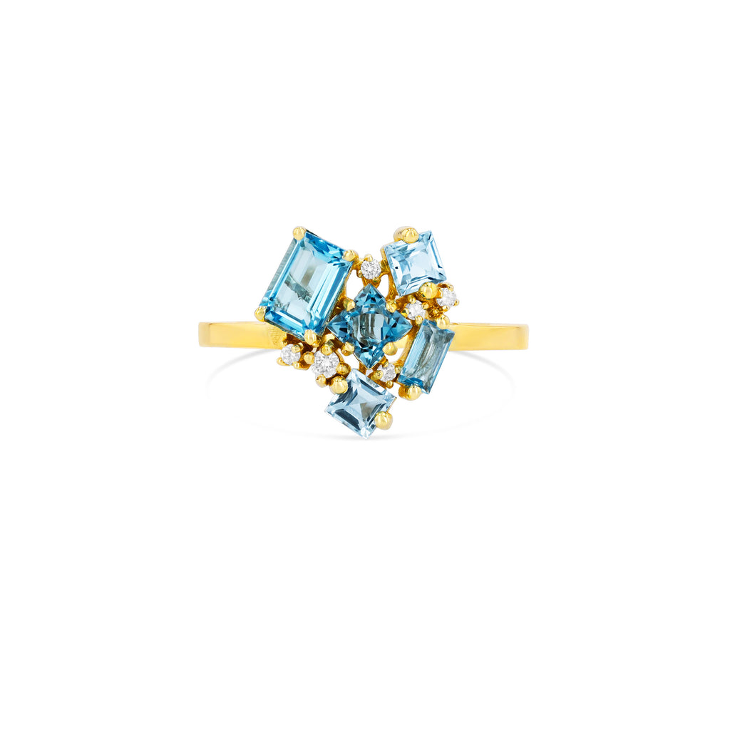 LIGHT BLUE MIX TOPAZ LOVE RING