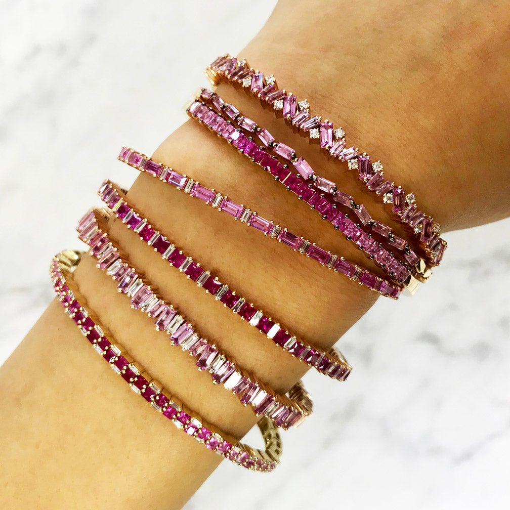 FIREWORKS PINK SAPPHIRE BAGUETTE BANGLE
