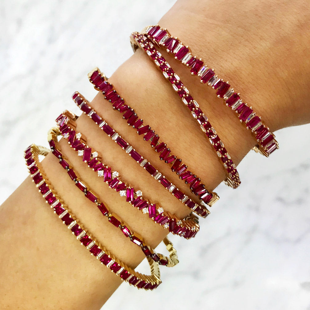 18K GOLD FIREWORKS RUBY HORIZONTAL BANGLE