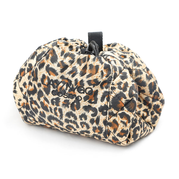 "Lay-n-Go COSMO Plus (21"") leopard cosmetic bag shown completely closed"