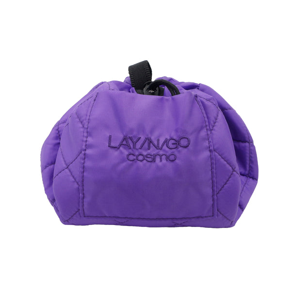 "Lay-n-Go COSMO Plus (21"") purple cosmetic bag shown completely closed"